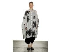 Dip Hemdblusenkleid A-Linie Blumen-Print schwarz weiß