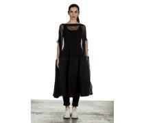 Dip Oversized Tüllkleid mit Volants schwarz