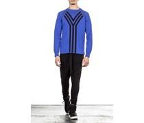 Pullover M KNIT CREW mit Raglanarm blau