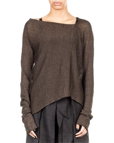 Damen Leinen Pullover grau