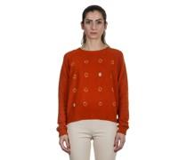 Kaschmir Rundhals Pullover orange grau