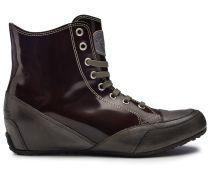 Candice Cooper Hightop Sneaker mit Lack-Part - bordeaux/schlamm