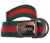 Gucci Gürtel mit aus Canvas-artigem Material - rot/grün