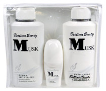 Damendüfte Musk Geschenkset Hand & Body Lotion 500 ml + Bath & Shower Gel 500 ml + Deo Roll-On 50 ml