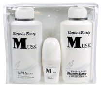Damendüfte Musk Geschenkset Hand & Body Lotion 500 ml + Bath & Shower Gel 500 ml + Deo Roll-On 50 ml