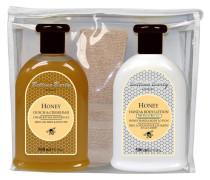 Pflege Honey Geschenkset Dusch & Creme Bad 500 ml + Hand & Body Lotion 500 ml + Handtuch