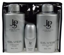 Herrendüfte Silver Geschenkset Bath & Shower Gel 500 ml + Hand & Bodylotion 500 ml + Deo Roll-On 50 ml
