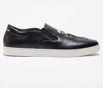SLIP-ON SNEAKER LONDON AUS LEDER MIT DESIGNER-PATCH