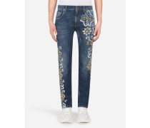 Stretch Skinny Jeans in Blau mit Majolika-Print