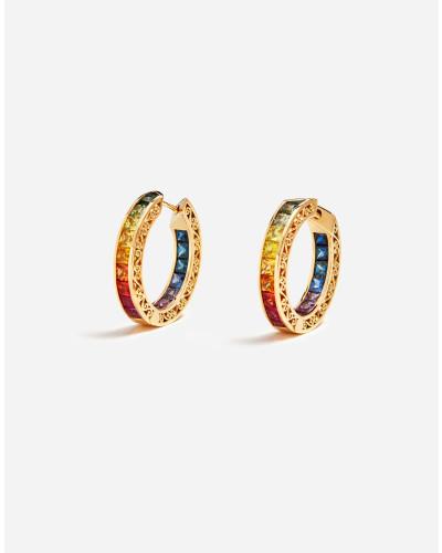Runde Ohrringe mit Mehrfarbigen Saphiren