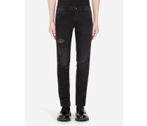 Stretch Skinny Jeans mit Ausgewaschener Optik
