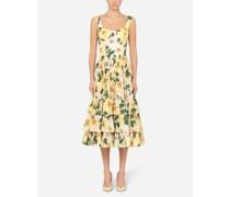 Longuette-Kleid aus Popeline mit Kamelien-Print