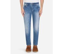 Stretch-Jeans Skinny Azurblau mit Kleinen Abriebstellen