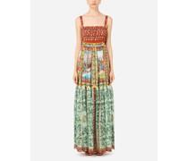 Langes Kleid aus Chiffon Carretto-Print