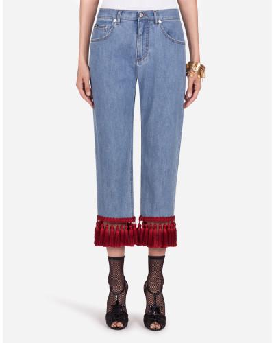 Jeans Boyfriend Fit aus Stretchdenim mit Fransen
