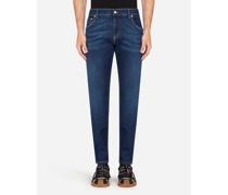 Skinny Stretch Jeans Blau Gewaschen