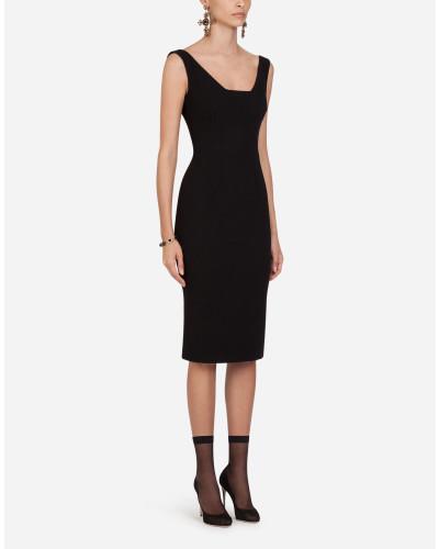 Midi-Kleid aus Woll-Crêpe