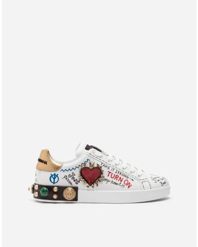 Sneakers Portofino aus Bedrucktem Kalbsnappaleder mit Patch und Stickerei