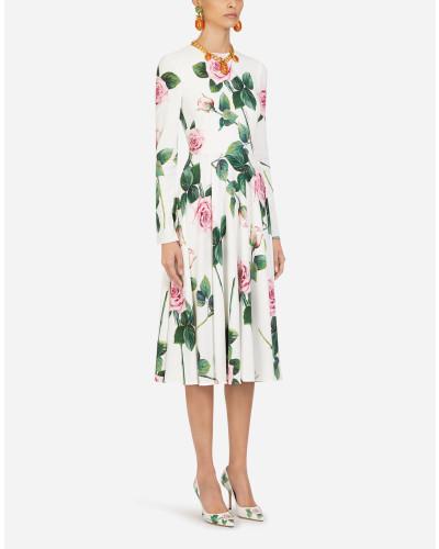 Longuette-Kleid AUS Cady MIT Tropischem Rosendruck