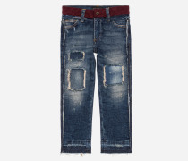 STRETCH-JEANS MIT PATCHES
