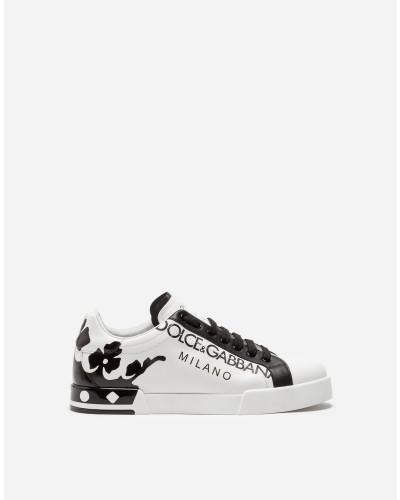 Sneakers Portofino aus Farbig Bedrucktem Kalbsleder