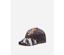 Basecap aus Baumwollstretch Print Tiger und DG Allover