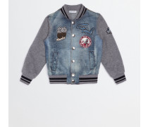 DENIM BOMBER JACKET WITH PATCH