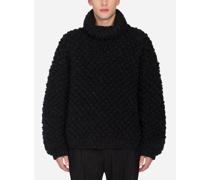 Oversize-Pullover mit Hohem Kragen aus Wolle