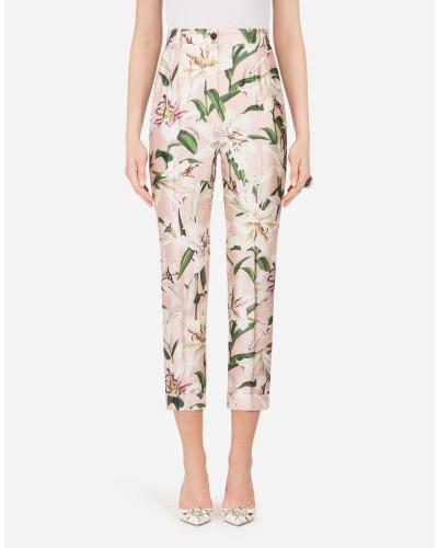 Shantung-Hose mit Lilien-Print