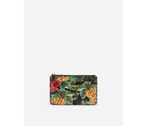 Kartenetui aus Dauphine-Kalbsleder Traubenprint AUF Schwarzem Grund