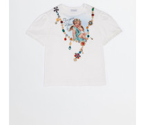 PRINTED COTTON T-SHIRT WITH CRYSTALS