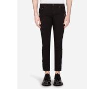 Stretch Skinny Jeans mit Band und Patch