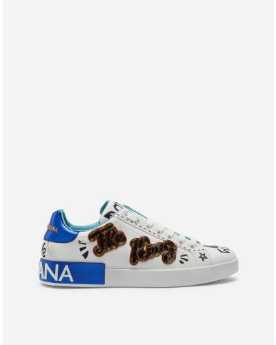 Portofino Sneakers aus Bedrucktem Kalbsleder mit Patch