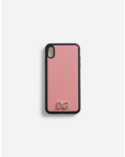 Cover für Iphone XS MAX aus Dauphine-Kalbsleder mit Kristall-Logo