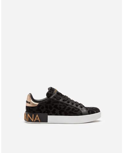 Sneaker Portofino aus Changierendem Leoparden-Stoff