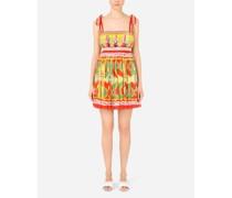 Kurzes Kleid aus Chiffon Carretto-Print