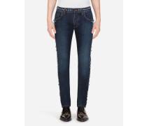 Stretch Skinny Jeans mit Nieten