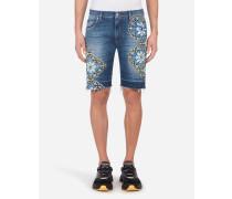 Bermudas aus Stretch Jeans mit Majolika-Print