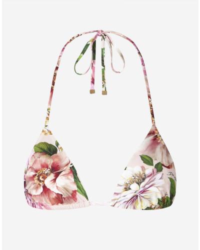 Triangel-Bikinitop Blumenprint Rosa