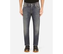 Slim Stretch Jeans Blau Gewaschen