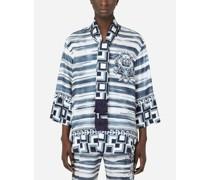 Hawaiihemd Seidentwill Bedruckt mit Schal