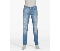 GOLD 14 FIT JEANS WITH RIPS AND REPAIRS