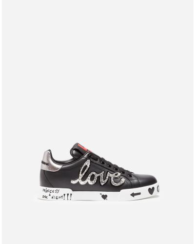 Sneaker Portofino aus Leder mit Patch