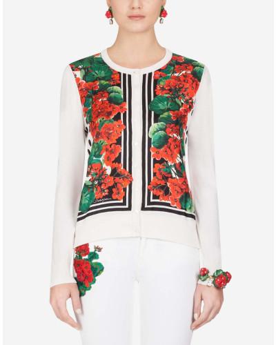 Jacke aus Seide und Twill mit Portofino-Print