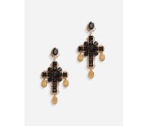 Clip-Ohrhänger Kreuz und Medaillons