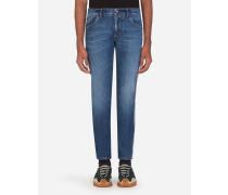 Stretch-Jeans Skinny Blau mit Streifen