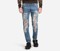 CLASSIC FIT STRETCH-JEANS MIT PATCHES