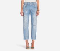 Boyfriend-Jeans aus Denim