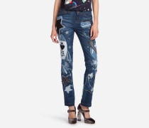 JEANS GIRLY FIT AUS DENIM MIT PATCH