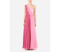 Langes One-Shoulder-Kleid aus Chiffon mehrfarbig